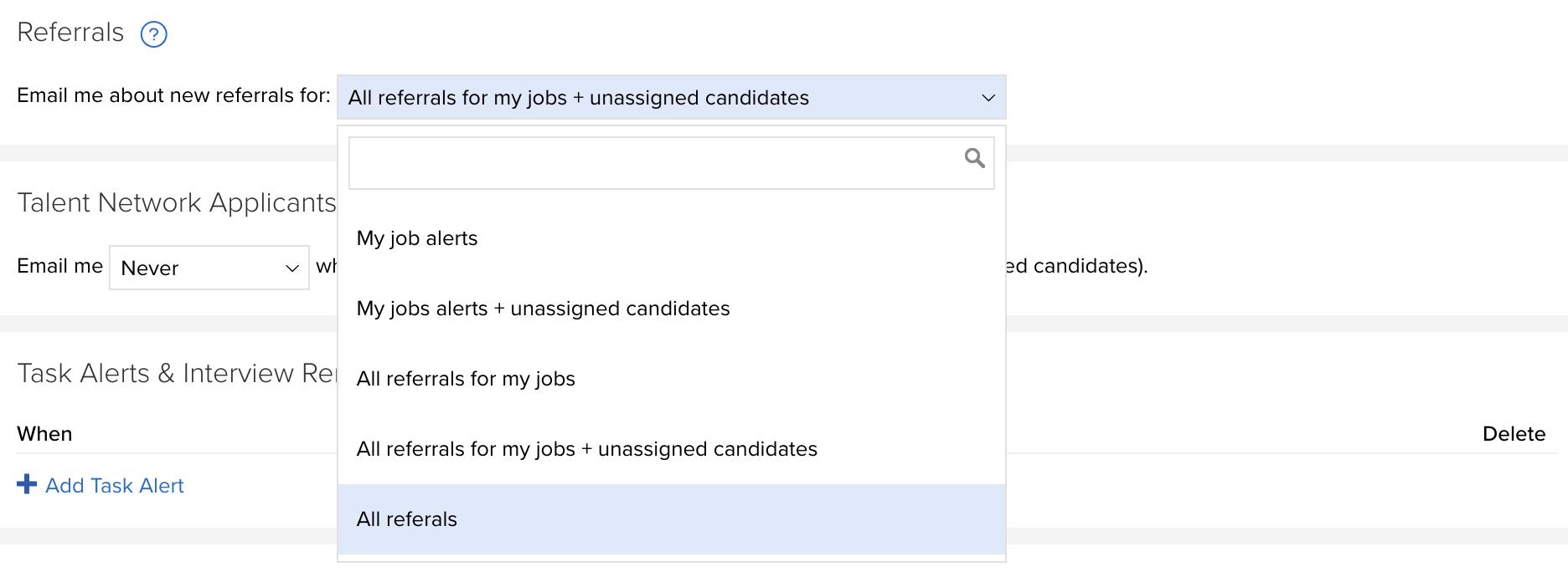 Employee Referral Notification Settings